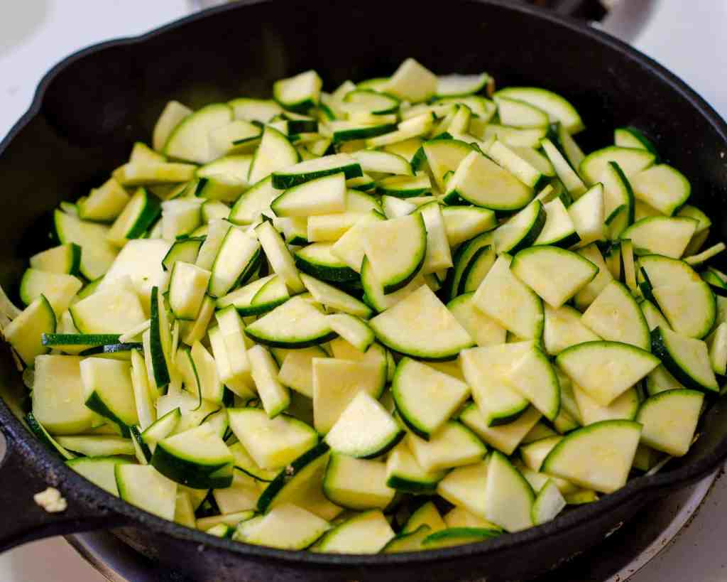 sliced zucchini frying for low carb zucchini and egg bhaji