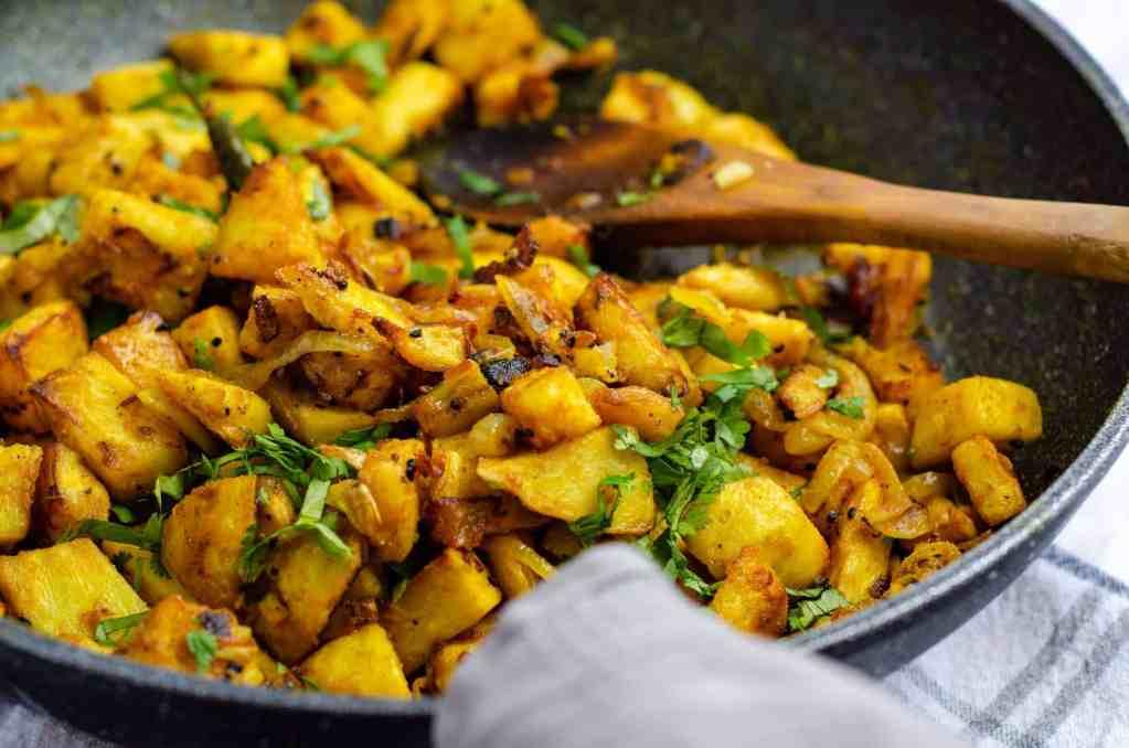Celeriac Bhaji in a pan