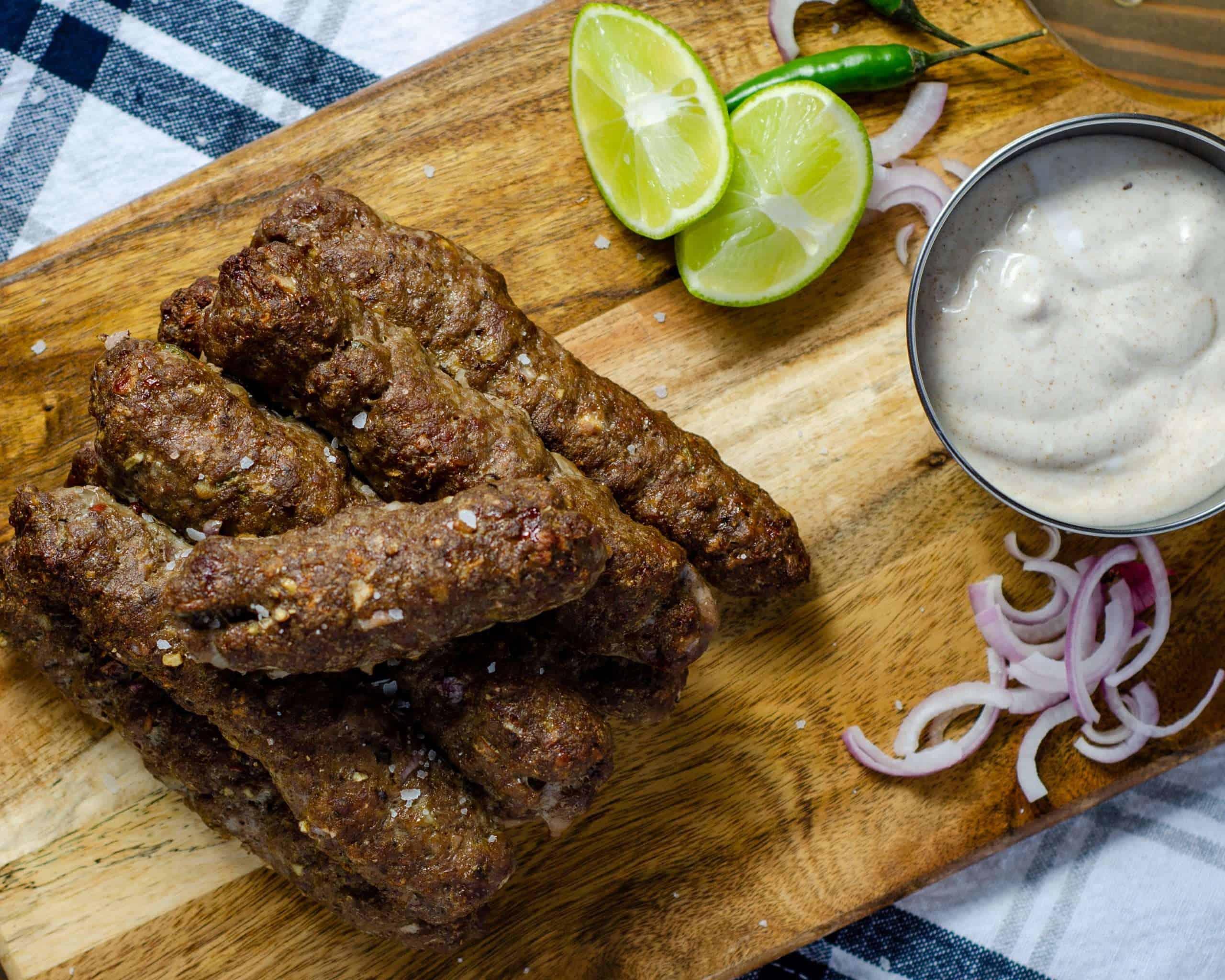 Low Carb Indian Seekh Kebab with Yogurt Raita