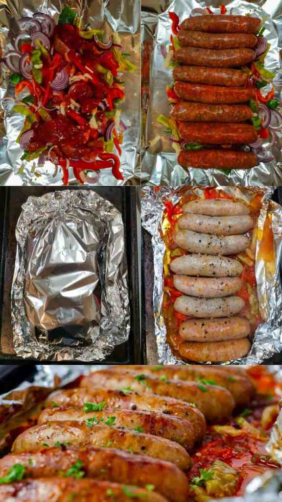 Foil Pack Sausage and Pepper Step By Step Image