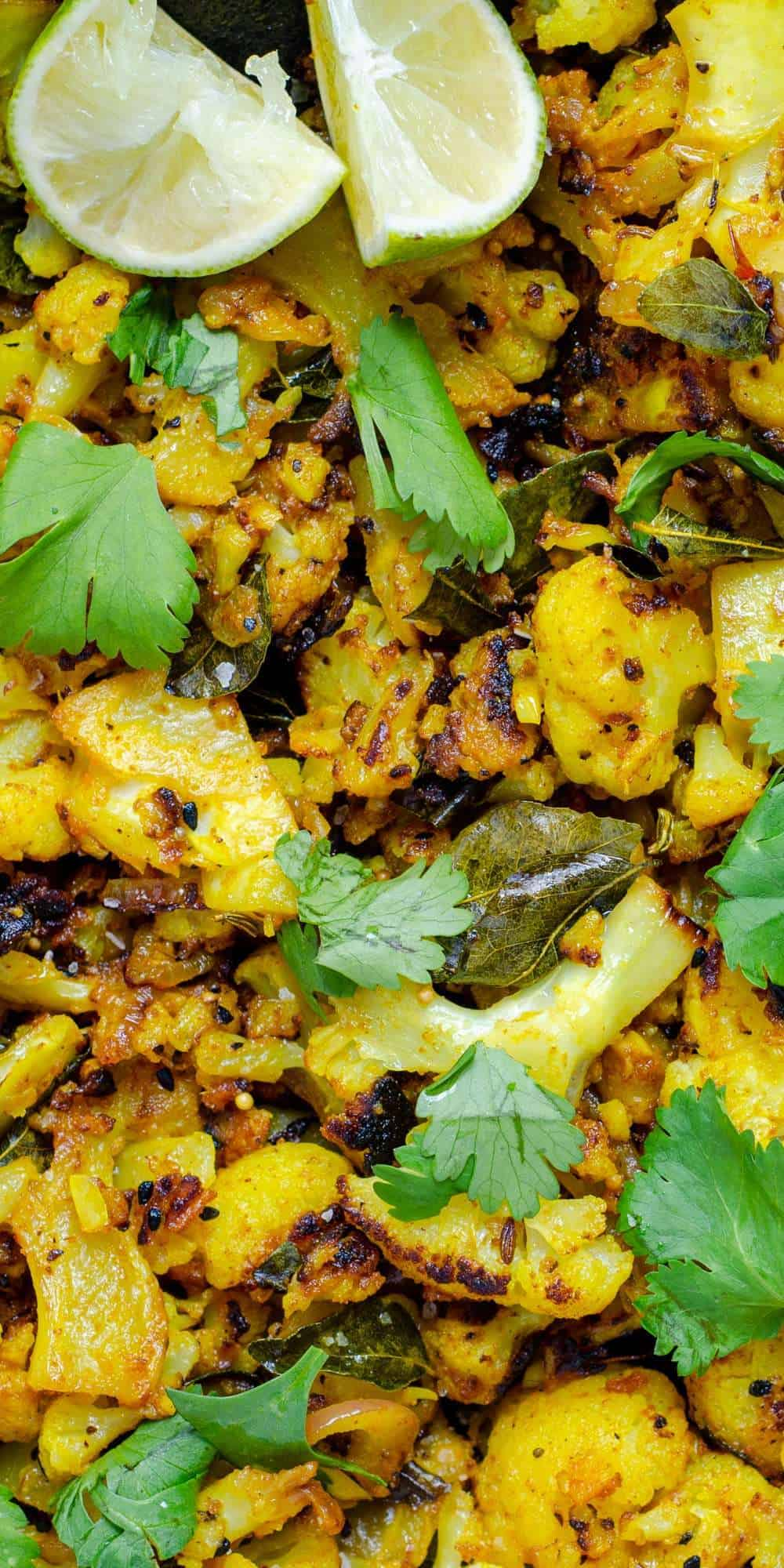 Keto cauliflower bhaji, garnished