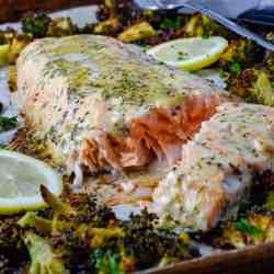 Low carb sheet pan salmon and broccoli recipe on a tray