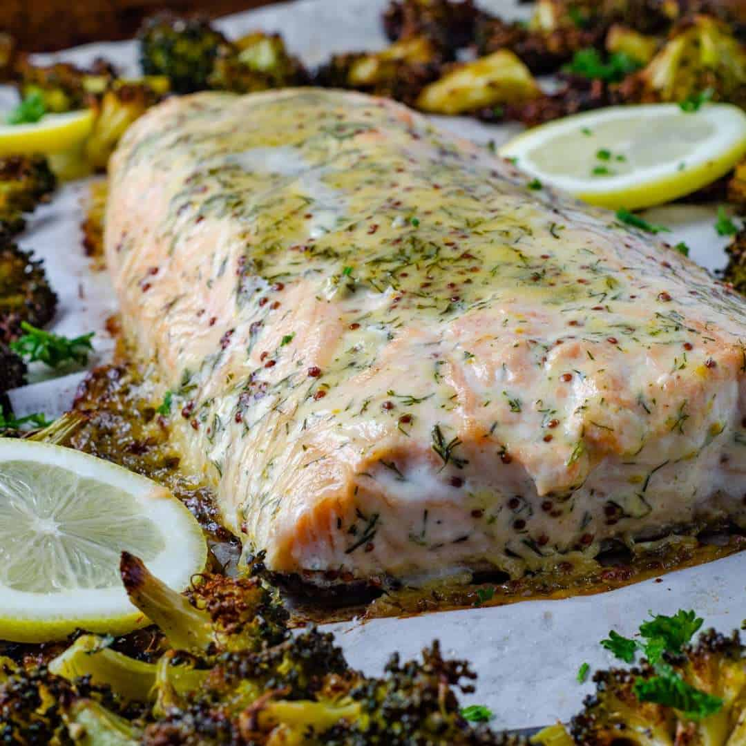 Sheet pan keto salmon recipe cooked ona tray with low carb broccoli
