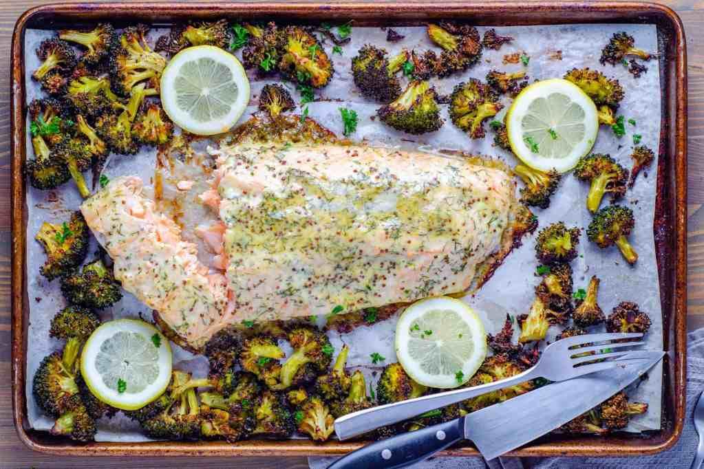 Easy low carb honey Dijon sheet pan salmon and crispy broccoli