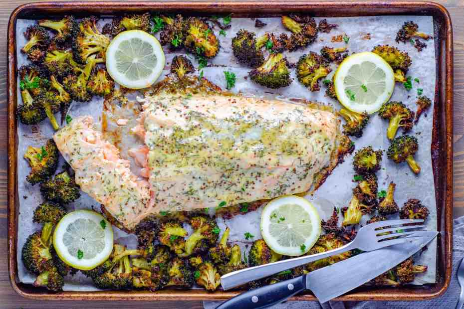 Easy low carb honey Dijon sheet pan salmon and crispy broccoli
