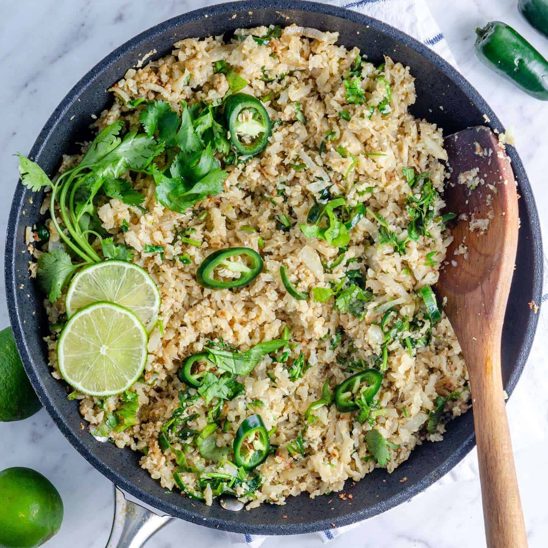 Keto cilantro lime cauliflower rice in a pan, overhead