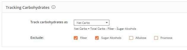 Cronometer net carb selection options screenshot