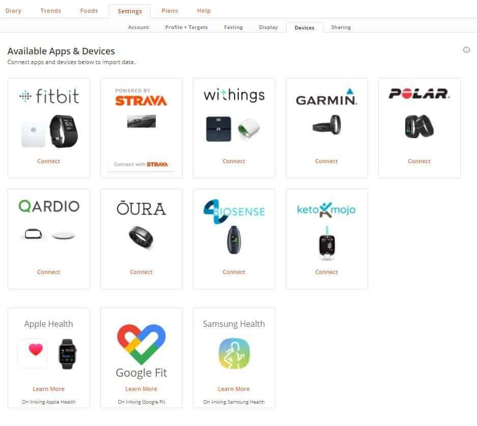 Cronometer fitness tracker and smart device integration setup screenshot