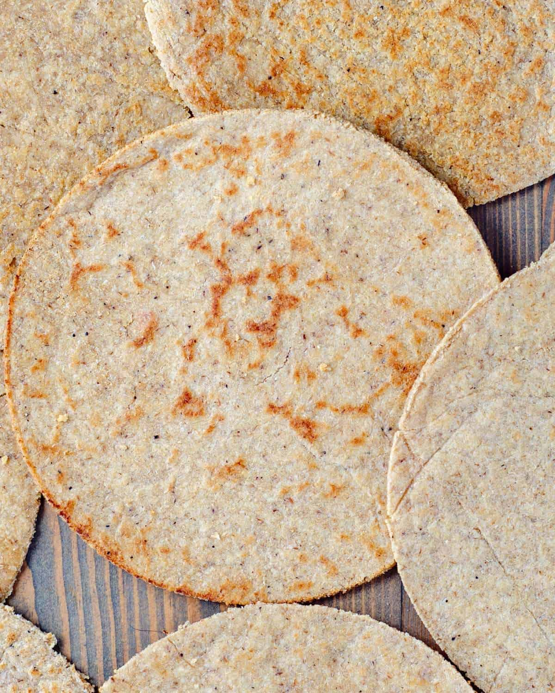 Keto tortillas laid out