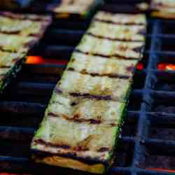 Grilled zucchini with perfect grill marks on the BBQ