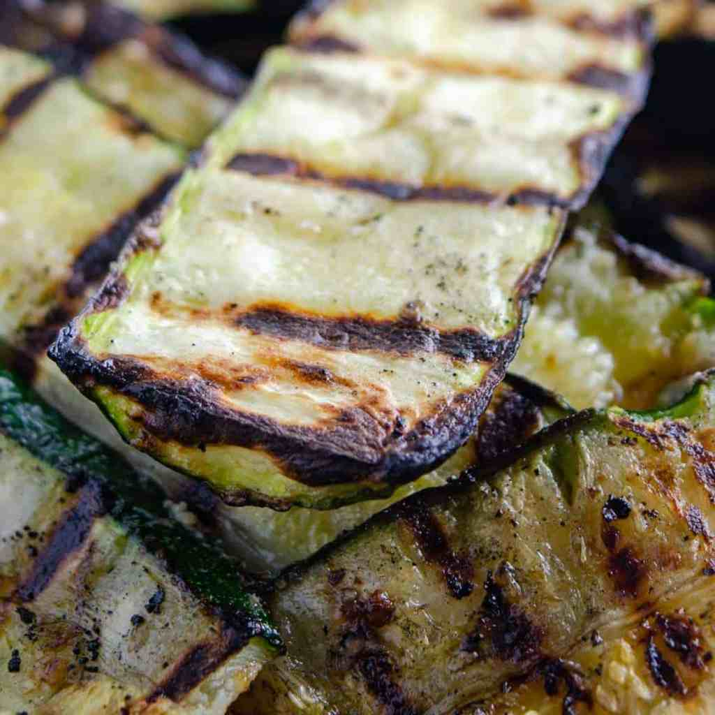 A pile of BBQ grilled zucchini