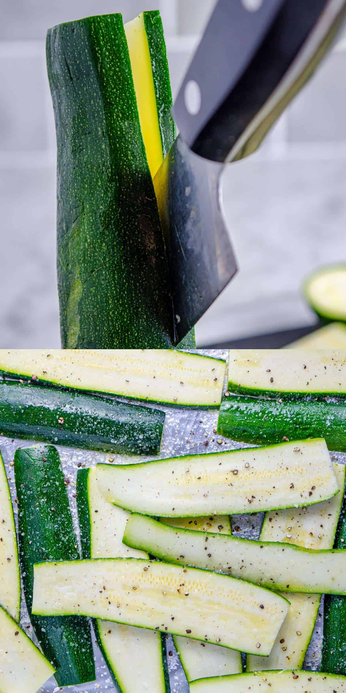 Slicing zucchini for grilling