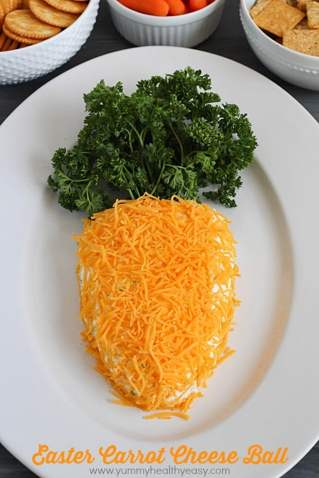 Need a fun treat to bring to an Easter party? Take this carrot-shaped cheese ball! It's sure to win the vote for cutest and tastiest snack!