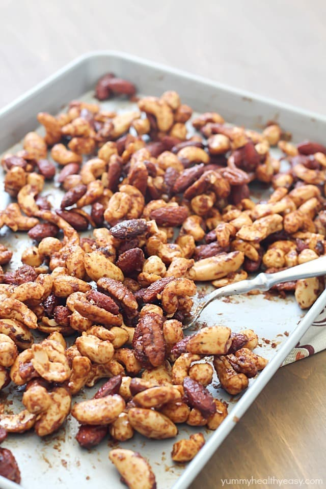 Healthy Spiced Nuts - perfect football-watching snack! Mixed nuts baked with spices to make the perfect salty/sweet treat.