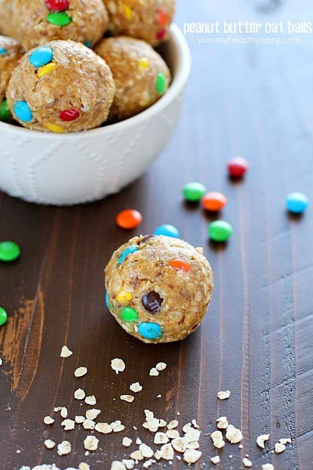 Peanut Butter Oat Balls {Yummy Healthy Easy}