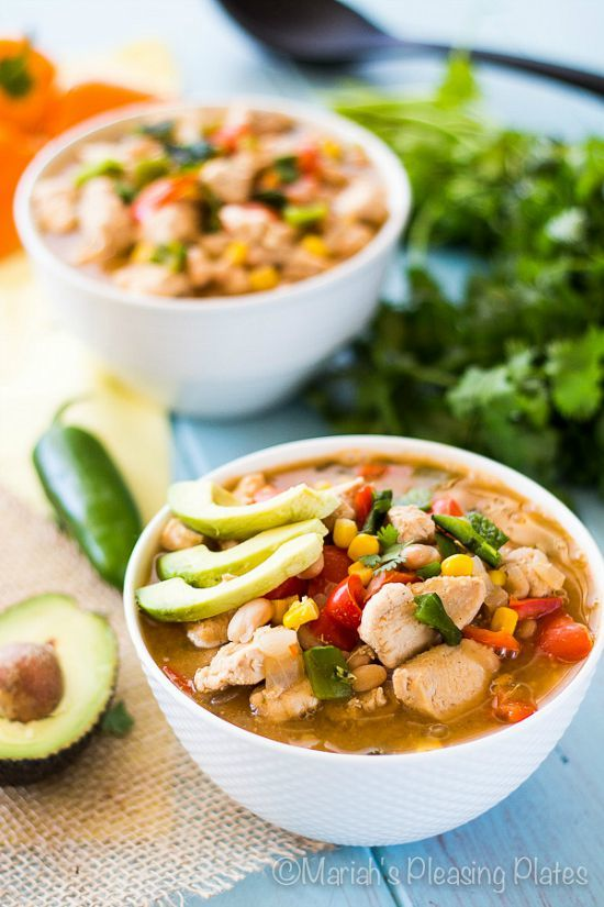 Slow Cooker Zesty White Chicken Chili by Mariah's Pleasing Plates