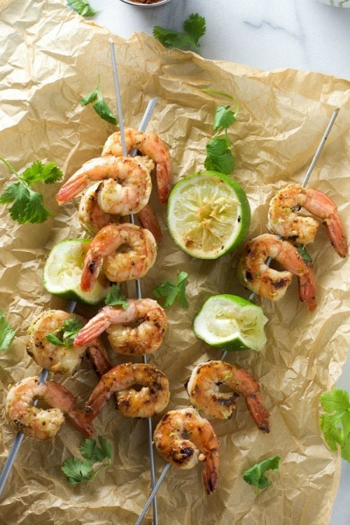 Spicy Cilantro Shrimp Skewers with Honey Lime Dipping Sauce by With Salt & Wit
