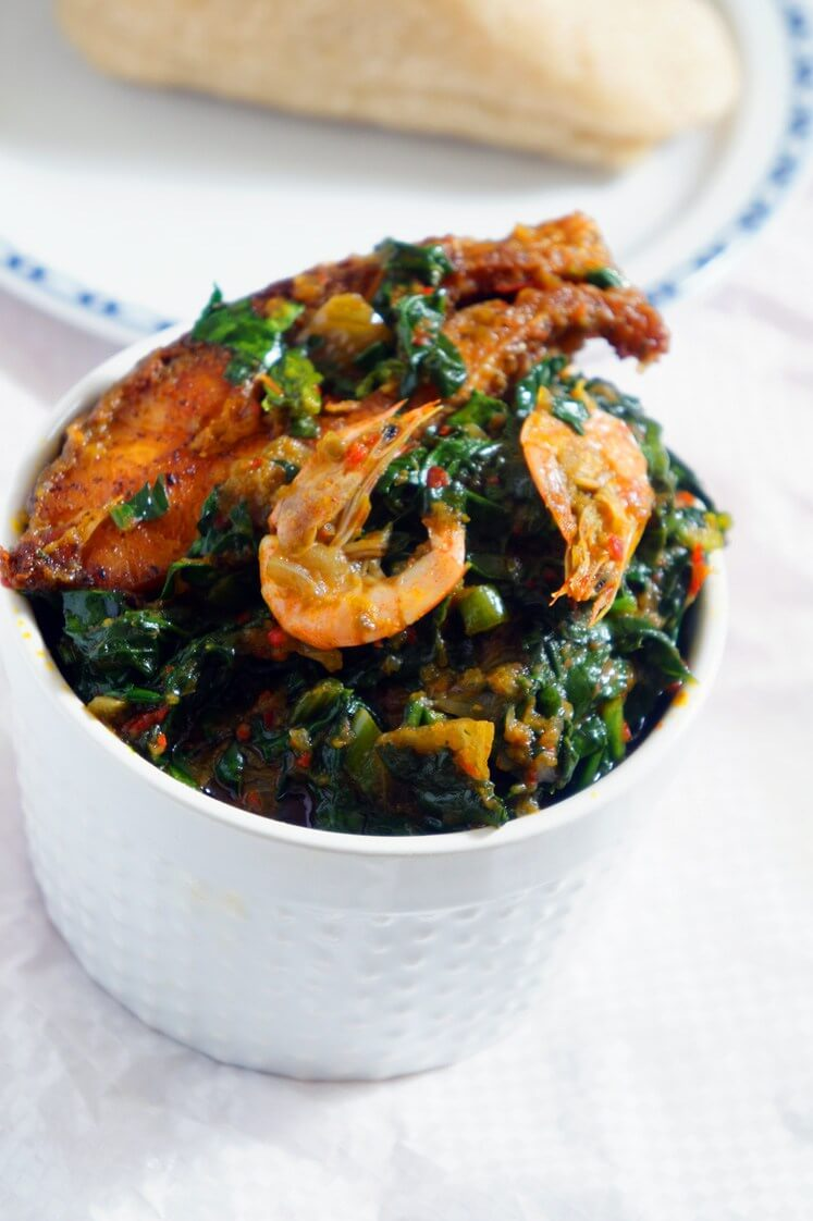 Nigerian Spinach Stew: Yoruba Style - Ready and served with eba
