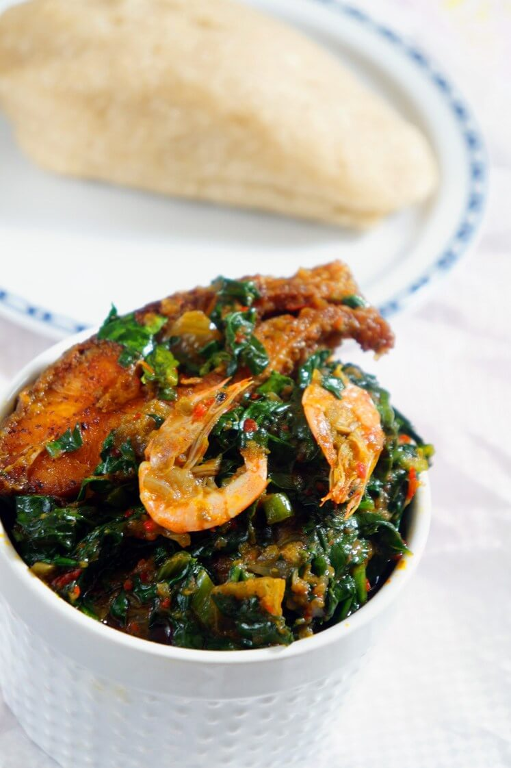 Nigerian Spinach Stew (Efo Riro): Yoruba Style - Dished and ready to eat with fish and a starch or rice