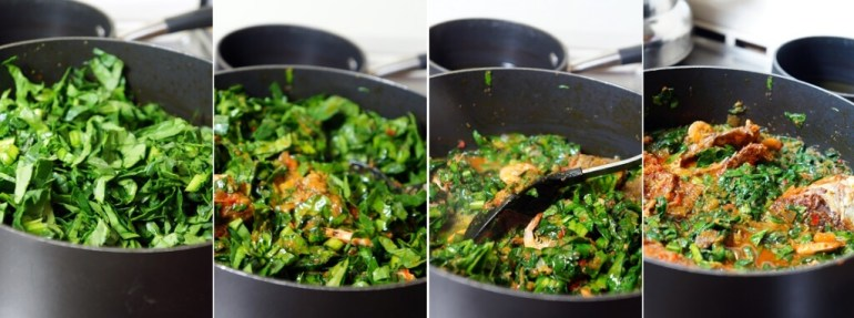 Spinach Stew: Yoruba Style - Spinach stewed in pot