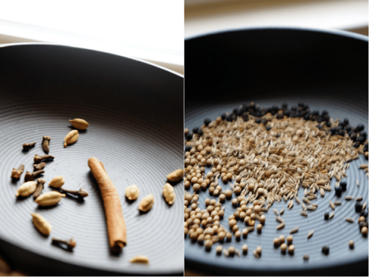 tasting East African pilau spices in a frying pan