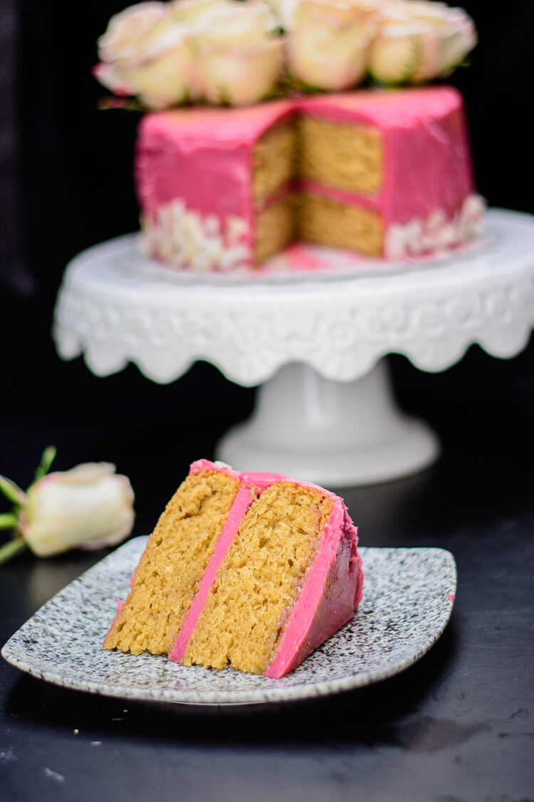 Earl grey tea cake coated with hibiscus frosting