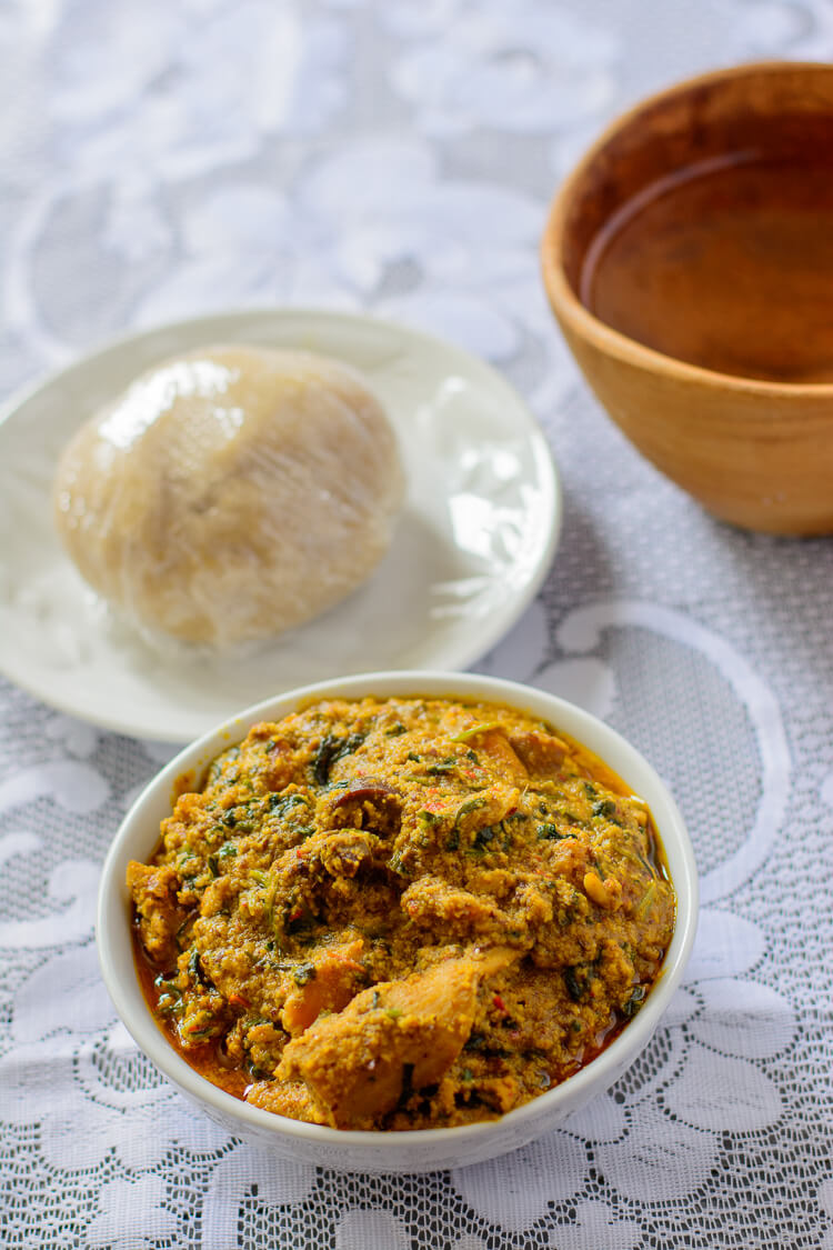 Egusi Stew Alternative: Nigerian Almond Stew - Stew served with Eba