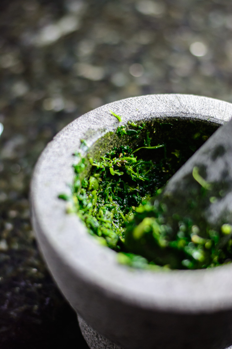 Grinding parsley, garlic and habanero for thieboudienne