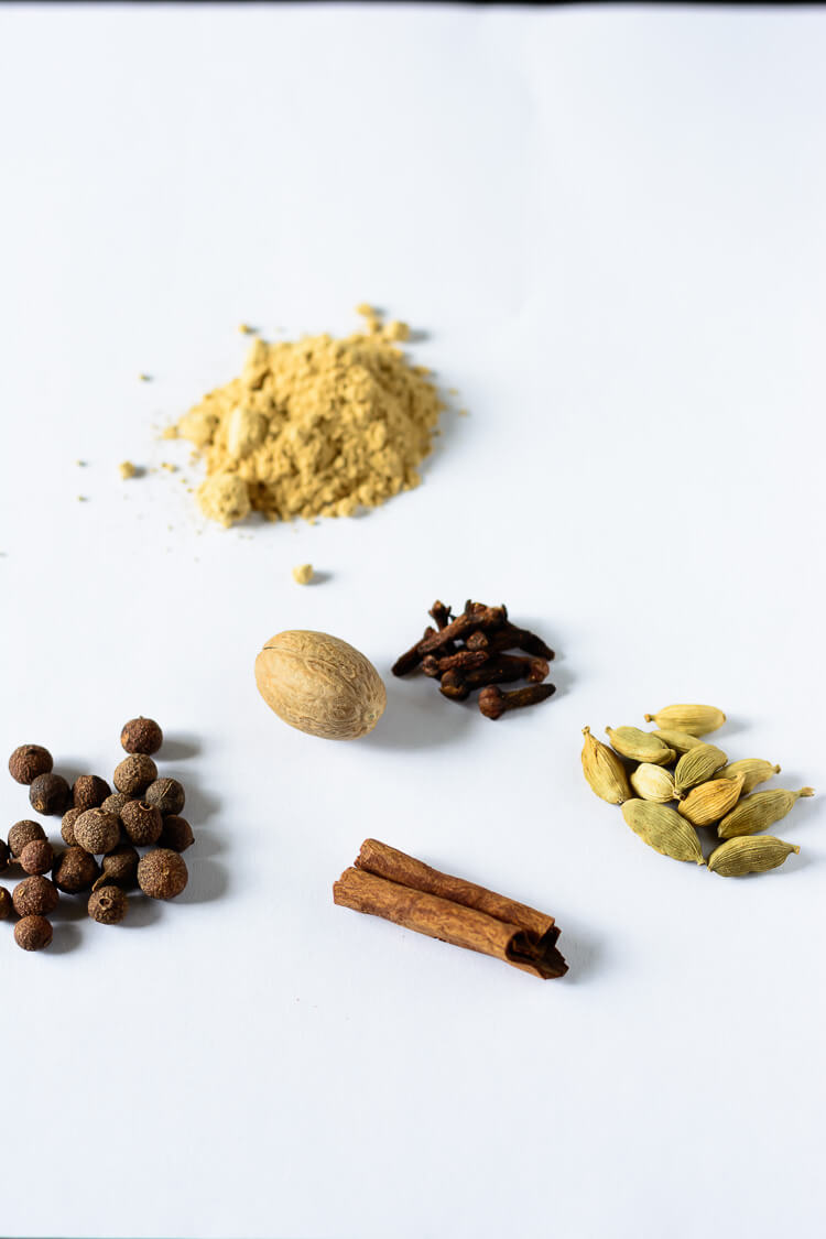 Sweet Ras El Hanout: Moroccan Spice ReMix for Desserts - ginger powder, green cardamon pods, cinnamon, nutmeg, allspice berries, cloves