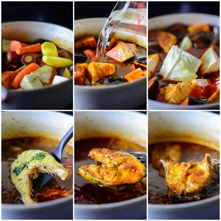 Thieboudienne: Senegalese Jollof Rice and Fish - Cooking the stew, fish and vegetables together