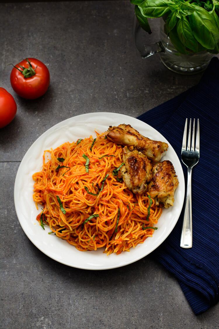 Jollof Spaghetti - Overhead shot of plate
