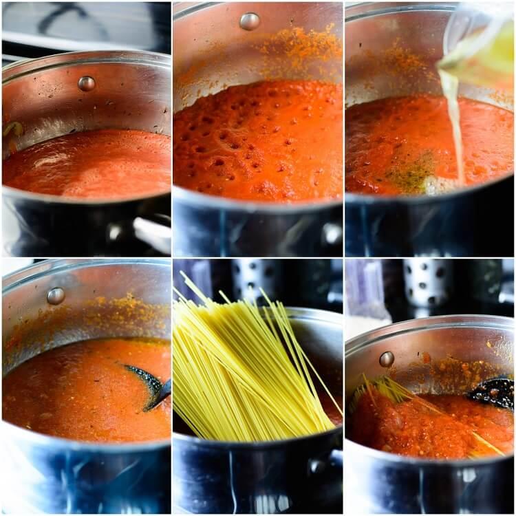 Jollof Spaghetti - preparing the tomato sauce and adding the spaghetti