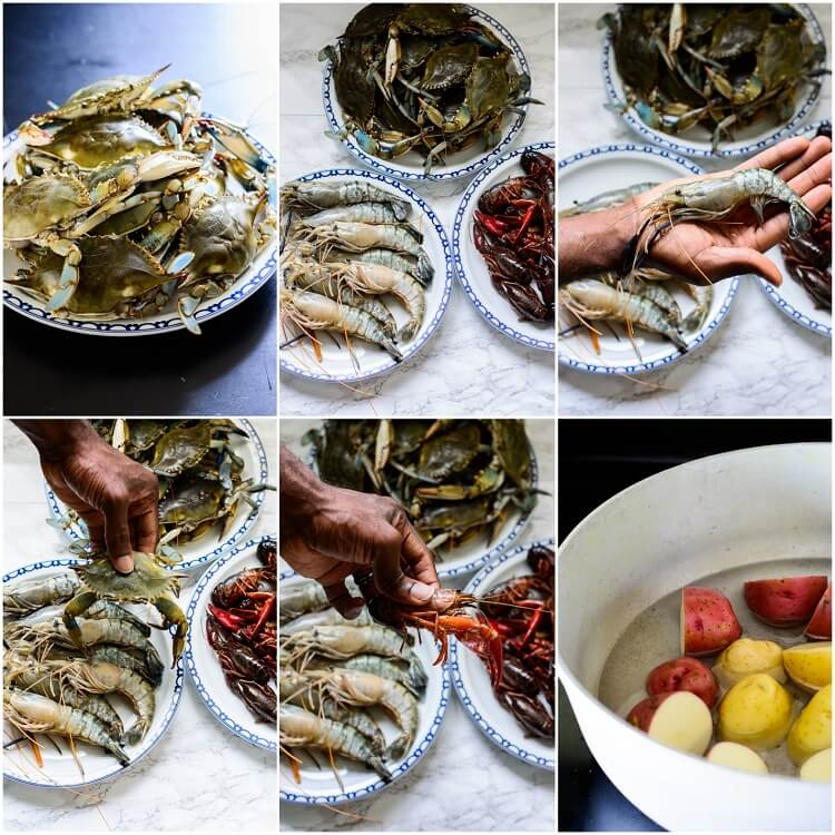 The Best Summer Seafood Boil with Homemade Seasoning - Crabs, prawns, crawfish and potatoes