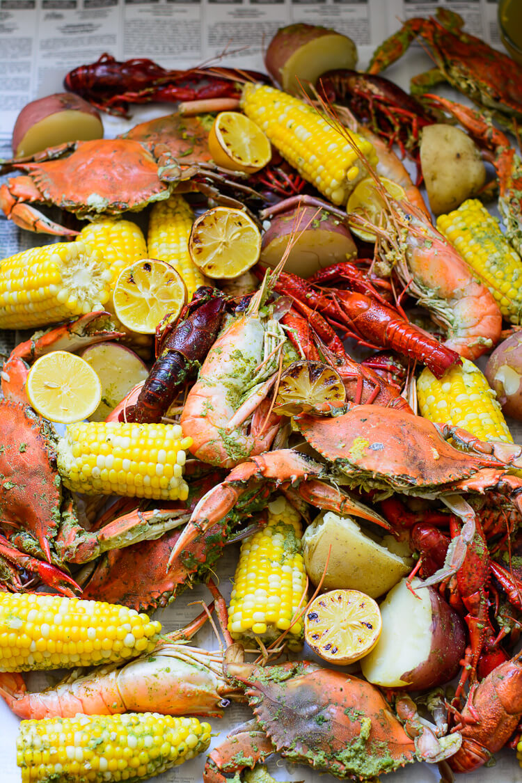 Best Summer Seafood Boil - laid out on paper and ready to be consumed