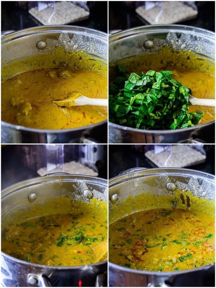 Groundnut Soup (Spicy Nigerian Peanut Stew) - Blended peanuts and spinach in stew pot