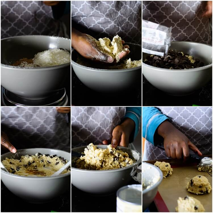 6-step collage showing mixing and scooping of rock bun batter