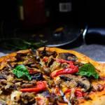 Jerk Mushroom Medley pizza Close Up