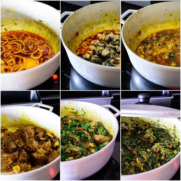 collage for cooking Afang soup in pot: adding snails, meat and leaves