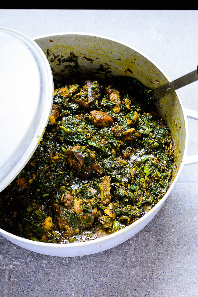 Overhead view of pot with Nigerian Afang soup