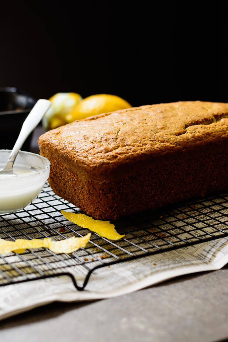 vegan lemon poppy seed loaf cake - loaf ready for lemon glaze