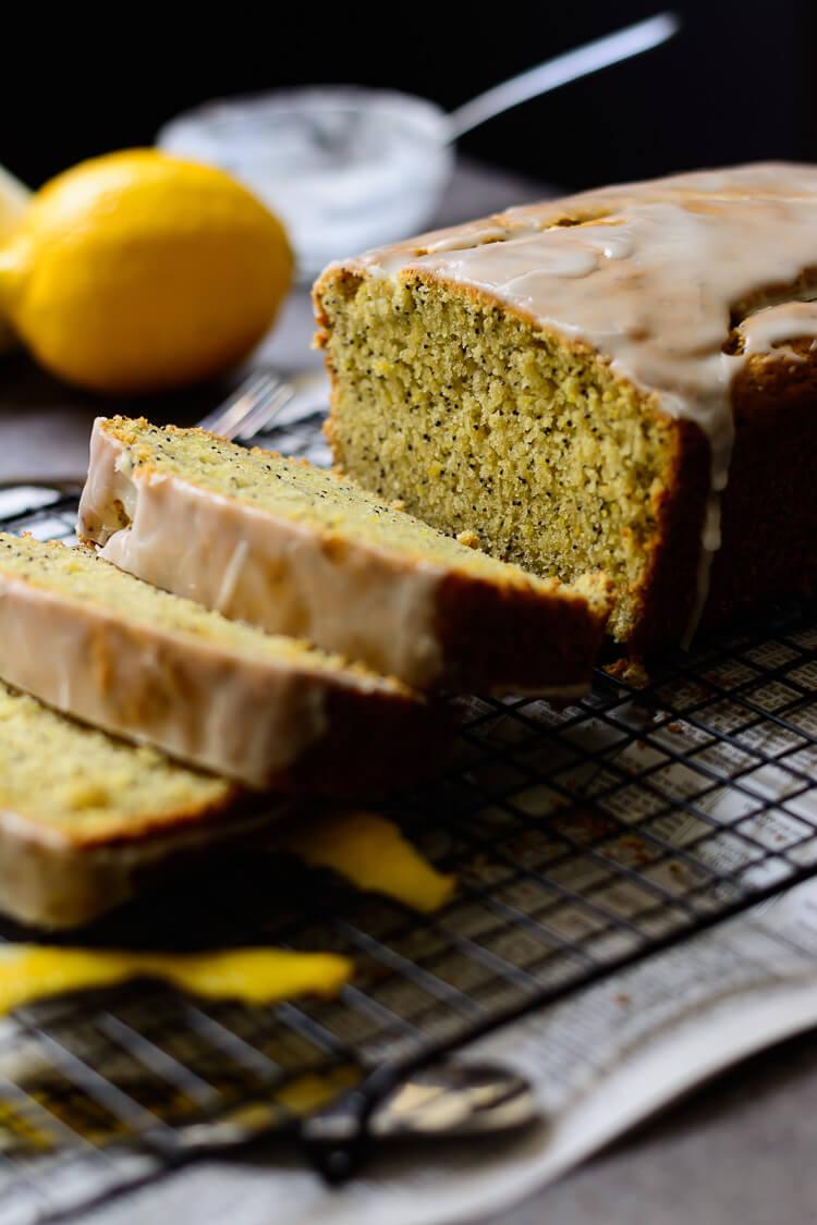 Vegan Lemon Poppy Seed Loaf Cake - close up crust shot of lemon loaf