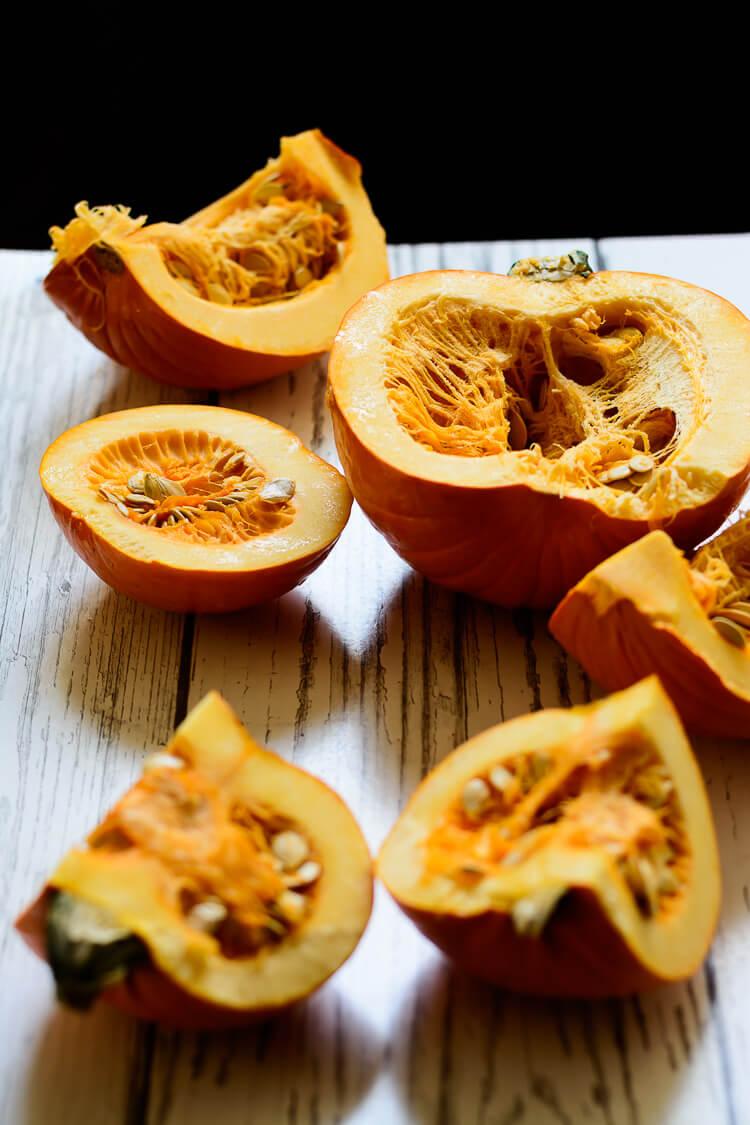 Homemade Pumpkin Puree from Scratch - two large pumpkins cut open