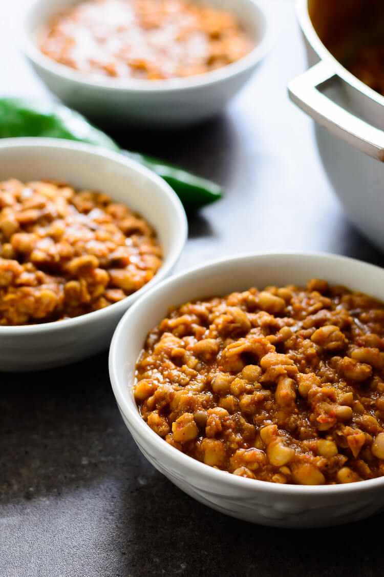 Nigerian Beans Porridge (Ewa Oloyin) - 3 dishes of the delicious beans porridge and a pot