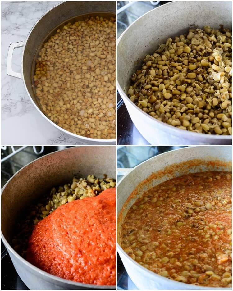 Nigerian Beans Porridge (Ewa Oloyin) - beans soaked in pot of water, boiled, blended tomato added and cooked