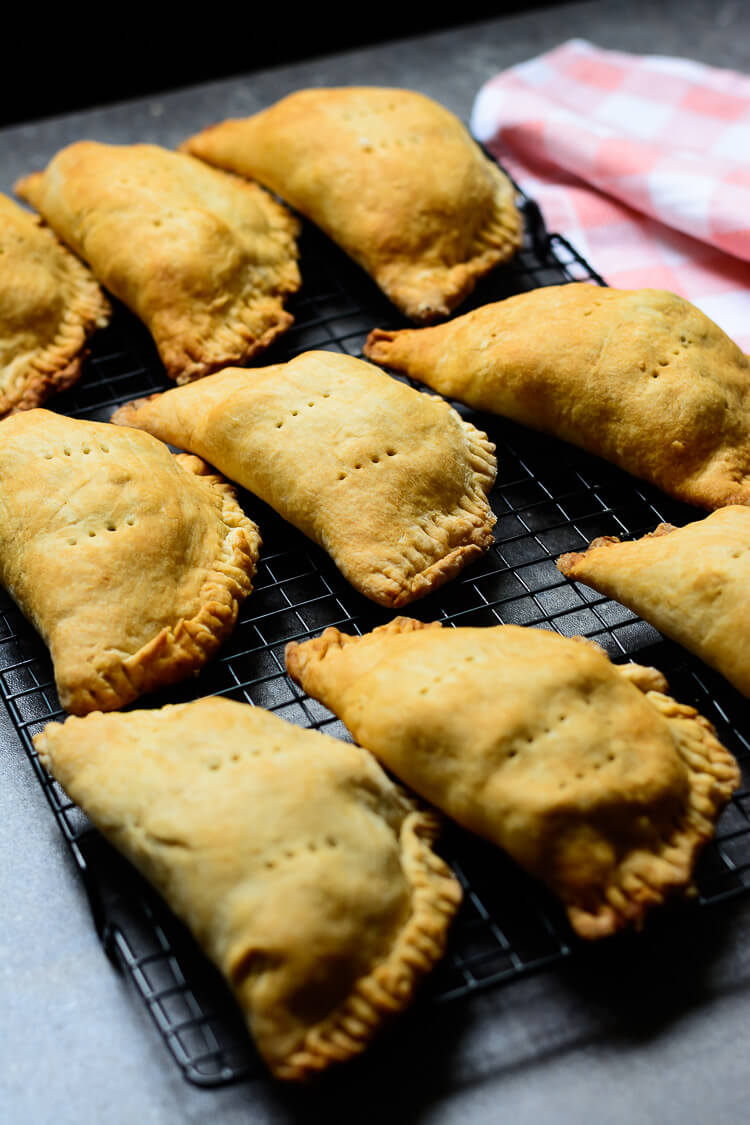 Chick-Un Vegan Hand Pies - laid out on a baking grill