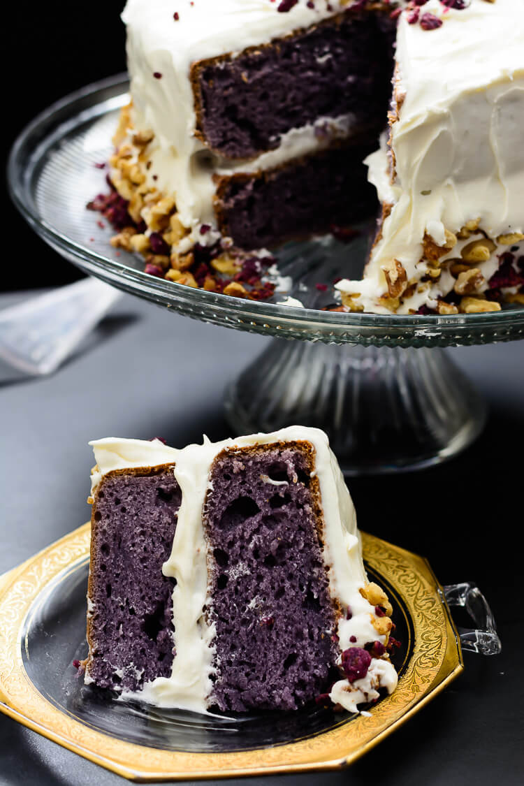 Purple Sweet Potato Cake with Marshmallow Cream Cheese Frosting - Close up slice