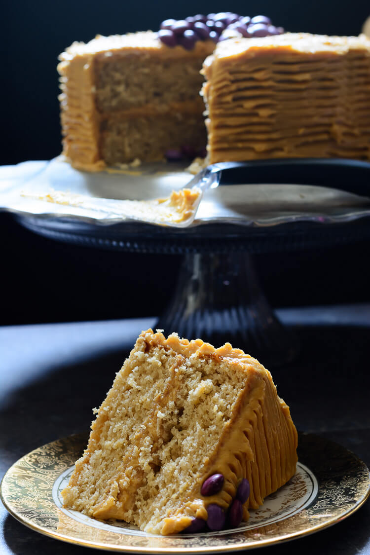 Vanilla Malt Cake with Caramel Cream Cheese Frosting - A delicious slice of goodness