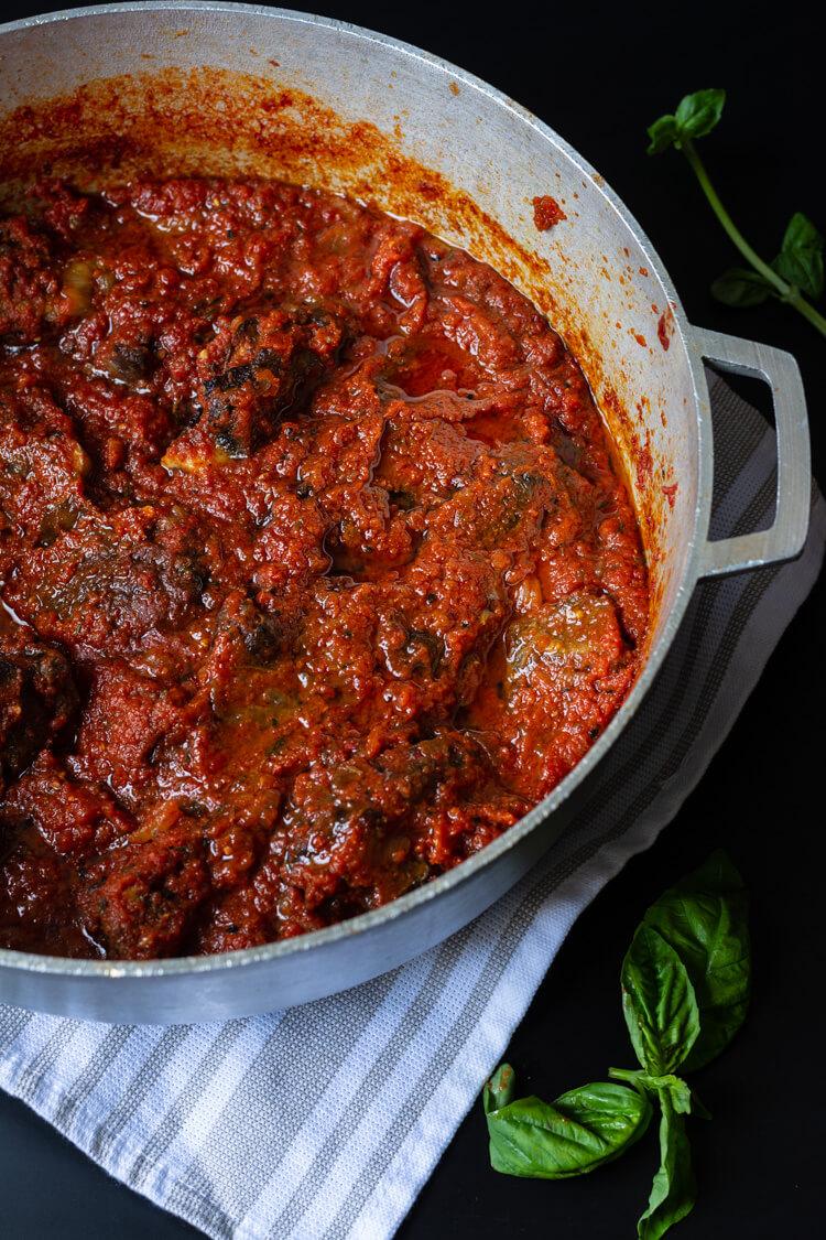 top shot of Nigerian red stew in pot