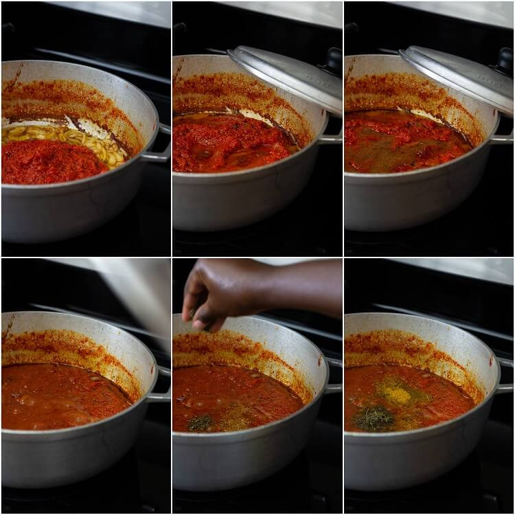 6-step photo showing addition of spices to stew in pot