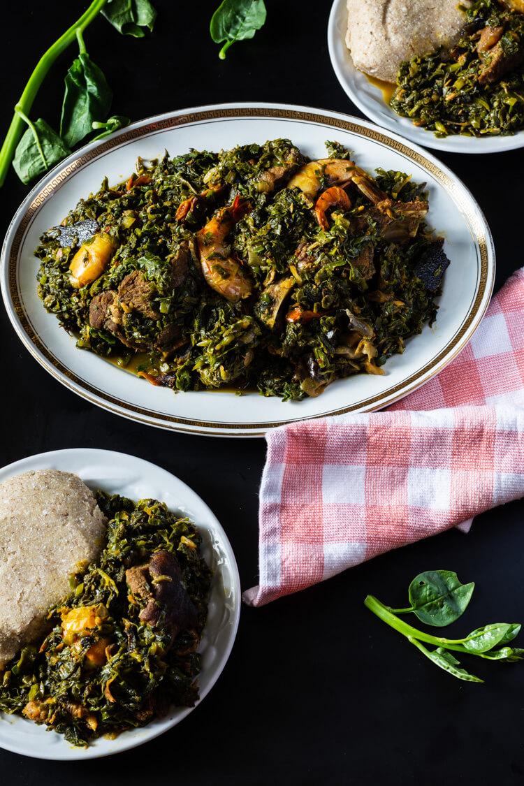 Edikaikong/Edikang Ikong - Edikaikong served with oatmeal fufu (aka swallow)